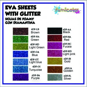 EVA SHEETS WITH GLITTER COLOR LIST